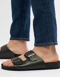 Asos Design Sandals In Black With Buckle