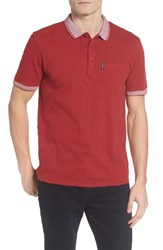 Ben Sherman Men's Check Tipped Jersey Polo Red