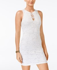 Material Girl Juniors' Lace Up Lace Bodycon Dress Only At Macy's White