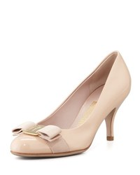 Salvatore Ferragamo Carla Patent Bow Pump New Bisque
