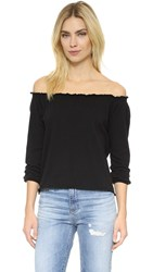 Chaser Off Shoulder Cotton Peasant Blouse Black