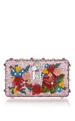 Dolce And Gabbana Floral Sequin Shoulder Bag Pink