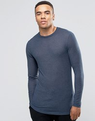 Asos Rib Longline Muscle Long Sleeve T Shirt With Oil Wash In Navy Navy