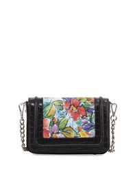 Charles Jourdan Odette Floral Leather Shoulder Bag Floral Black