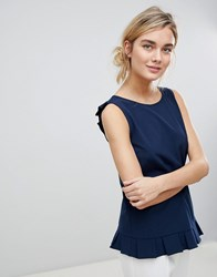 See U Soon Button Back Top With Mini Peplum Navy