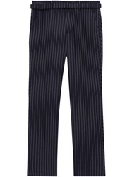 Burberry Classic Fit Pinstriped Wool Tailored Trousers Blue