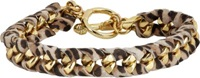 Ettika Braided Cheetah Print Suede And Curb Chain Bracelet Brown