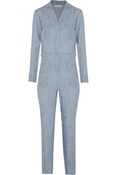 Paul And Joe Pelops Striped Linen And Modal Blend Jumpsuit Blue