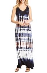Karen Kane V Neck Tie Dye Maxi Dress Tie Die