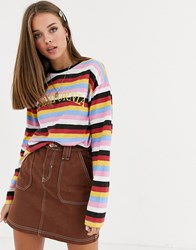 Daisy Street Long Sleeve T Shirt With California Embroidery In Retro Stripe Multi