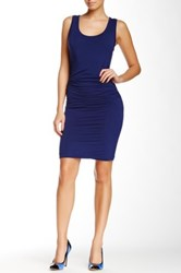 Glam Jersey Rouch Bubble Hem Tank Dress Blue