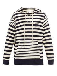 Loewe Anagram Striped Cotton Knit Hooded Sweater Navy White