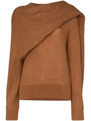 Rejina Pyo Knitted Wrap Style Scarf Jumper Brown