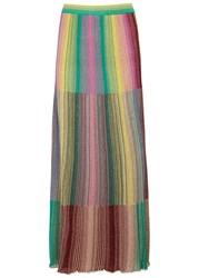 M Missoni Plisse Fine Knit Maxi Skirt Green