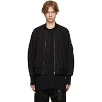Julius Black Nylon Bomber Jacket