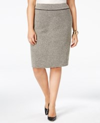 Kasper Plus Size Tweed Faux Suede Trim Pencil Skirt Heather Grey