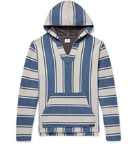 Faherty Baja Striped Cotton Hoodie Blue