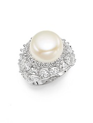 Cz By Kenneth Jay Lane 13.5Mm White Freshwater Pearl And Geo Cluster Cocktail Ring
