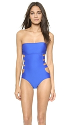 Ella Moss Solid One Piece Swimsuit Blue