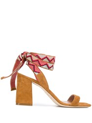 Gianna Meliani Contrasting Tie Fastening Sandals Brown