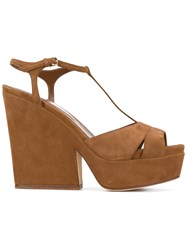 Sergio Rossi T Bar Wedged Sandals Brown