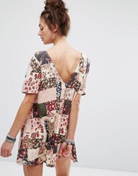 Motel Dress With Button Up Back In Patchwork Floral Print Pink