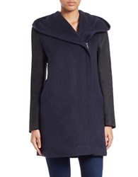 Elie Tahari Leather Trimmed Wool Blend Coat Navy Blue