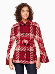 Kate Spade Chunky Plaid Cape Red Multi