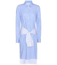 Maison Martin Margiela Striped Cotton Shirt Dress Blue