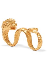Valentino Tiger Gold Plated Two Finger Ring One Size