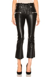 Unravel Lace Front Crop Flare Leather Pants In Black
