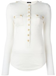 Balmain Long Sleeve Slub Jersey Top Nude Neutrals