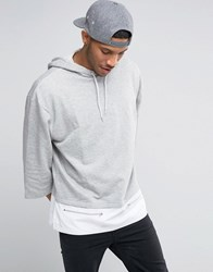 Asos Oversized Hoodie With Woven Panel And Ruched Sleeve Grey Marl