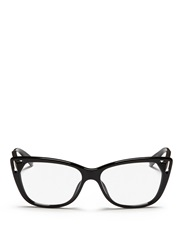 Christian Dior Contrast Temple Cutout Corner Optical Glasses Black