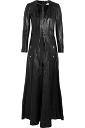 Chloe Leather Maxi Dress Black