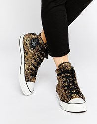 Converse Gold Sparkle Faux Fur Chuck Taylor High Top Trainers Goldblack