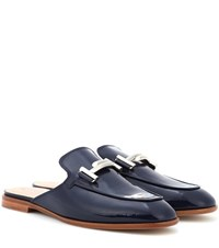 Tod's Patent Leather Slippers Blue