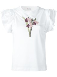 Red Valentino Flutter Sleeve T Shirt White