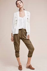 Anthropologie Trimmed Cargo Joggers Moss