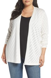 Vince Camuto Plus Size Women's Pointelle Open Front Cardigan New Ivory