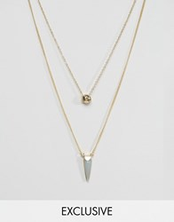 Designb London Stone And Circle Necklaces In 2 Pack Gold