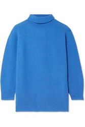 Max Mara Wool And Cashmere Blend Turtleneck Sweater Bright Blue