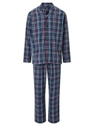 John Lewis Herringbone Check Brushed Cotton Pyjamas Navy