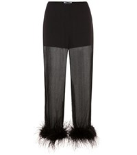 Prada Feather Trimmed Silk Chiffon Trousers Black