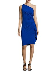 Nicole Bakti Asymmetric Neckline Ruffled Dress Royal