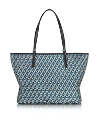 Lancaster Paris Ikon Printed Coated Canvas And Leather Tote Blue