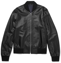Paul Smith Perforated Leather Bomber Jacket Black