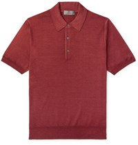 Canali Slim Fit Wool And Silk Blend Polo Shirt Red