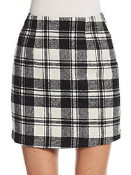 Zero Degrees Celsius Plaid Mini Skirt Black White
