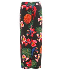 Valentino Floral Printed Silk Trousers Multicoloured
